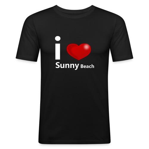 I love Sunny Beach 2 (white print) - slim fit T-shirt