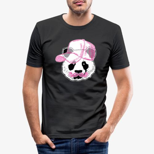 Panda - Pink - Cap - Mustache - Männer Slim Fit T-Shirt