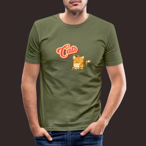 Katze | Katzen süß Schriftzug - Männer Slim Fit T-Shirt