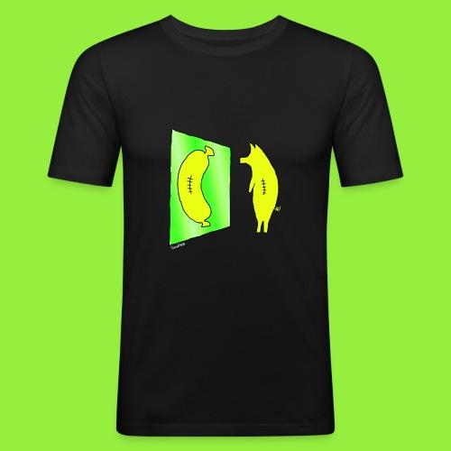 StitchPiggy in a Reflective Mood - Men's Slim Fit T-Shirt