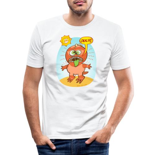Bad summer sunburn for a funny dinosaur - Men's Slim Fit T-Shirt