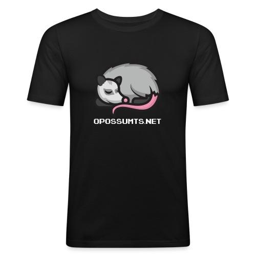 OpossumTS-Logo mit Schrift (WEiß) - Männer Slim Fit T-Shirt