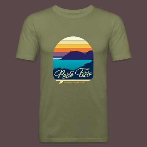 Porto Ferro - Vintage travel sunset - Maglietta aderente da uomo