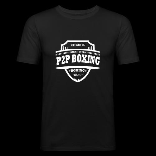 P2P Boxing White Logo - Men's Slim Fit T-Shirt