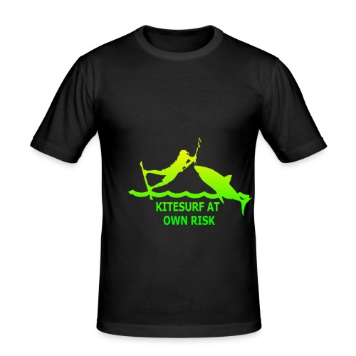 kitesurfatownriskslogangreen - Männer Slim Fit T-Shirt