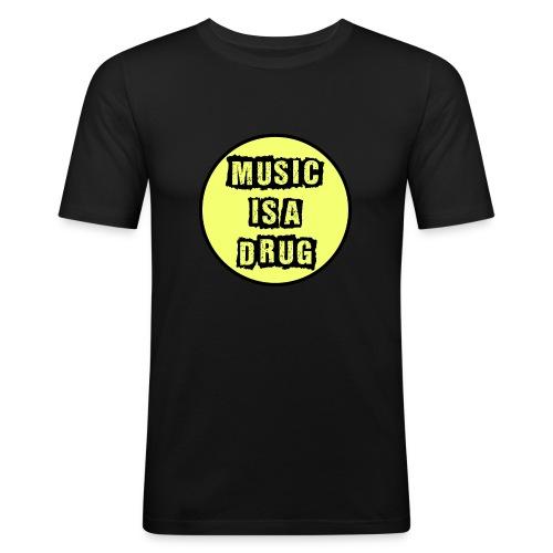 Music is a drug - Männer Slim Fit T-Shirt
