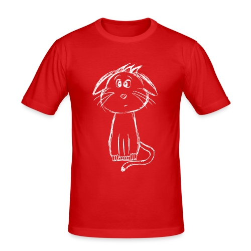 Kissa Kissanpentu valkoinen scribblesirii - Miesten tyköistuva t-paita