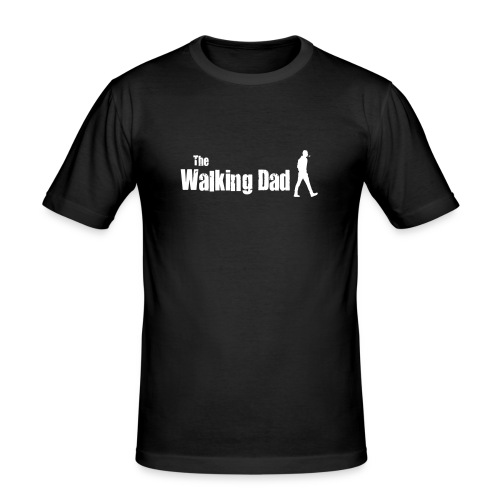 the walking dad white text on black - Men's Slim Fit T-Shirt