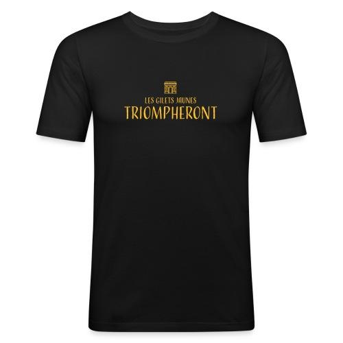 Les gilets jaunes triompheront, t-shirt manif - T-shirt près du corps Homme