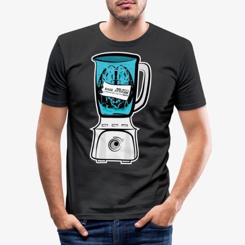 Hirn im Mixer - neon blau - Männer Slim Fit T-Shirt
