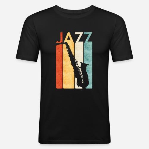 Jazz Saxophon Retro - Männer Slim Fit T-Shirt