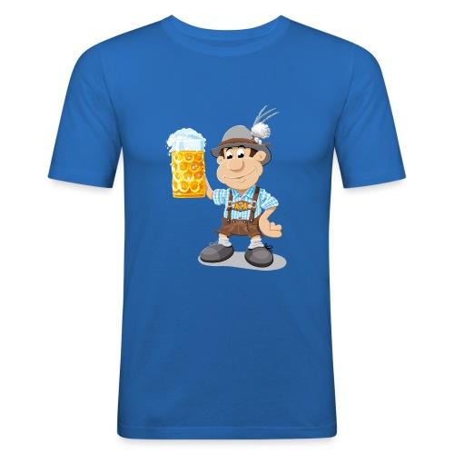 Bier Maßkrug Lederhosen Cartoon Man - Männer Slim Fit T-Shirt