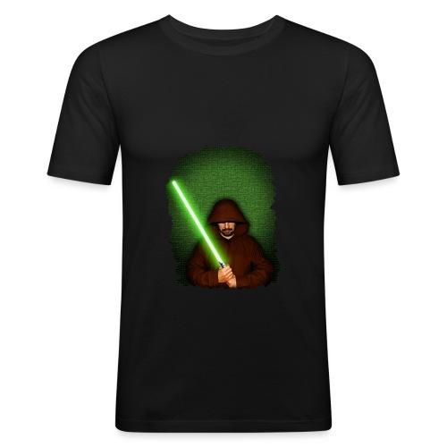 Jedi warrior with green lightsaber - Maglietta aderente da uomo