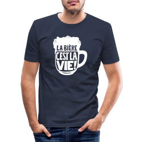 bière, la bière c'est la vie - T-shirt près du corps Homme