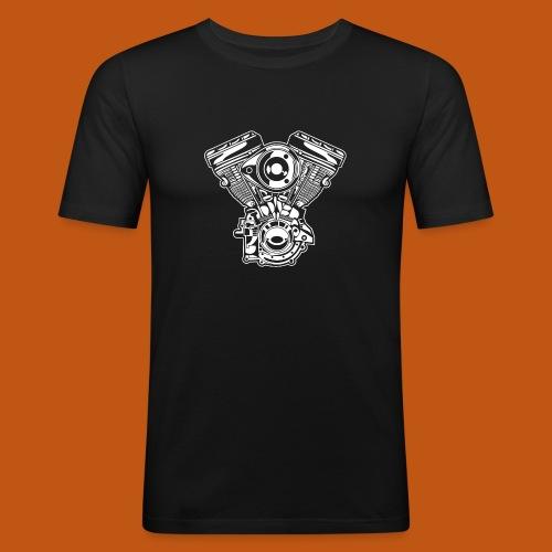 Motorrad Motor / Engine 01_weiß - Männer Slim Fit T-Shirt
