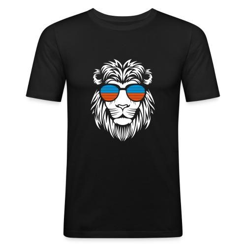 Retro Lion Sunglass 2 - Männer Slim Fit T-Shirt