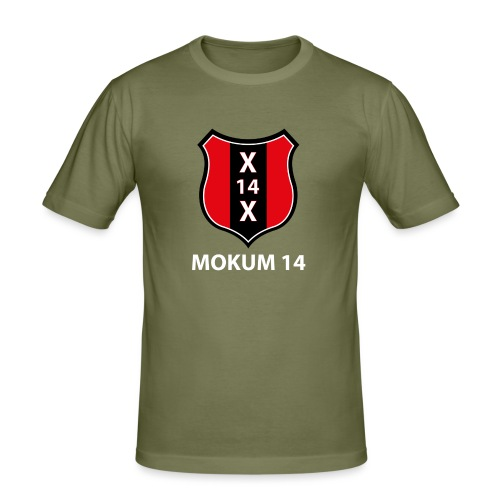 Mokum 14 Emblem (white text) - Mannen slim fit T-shirt