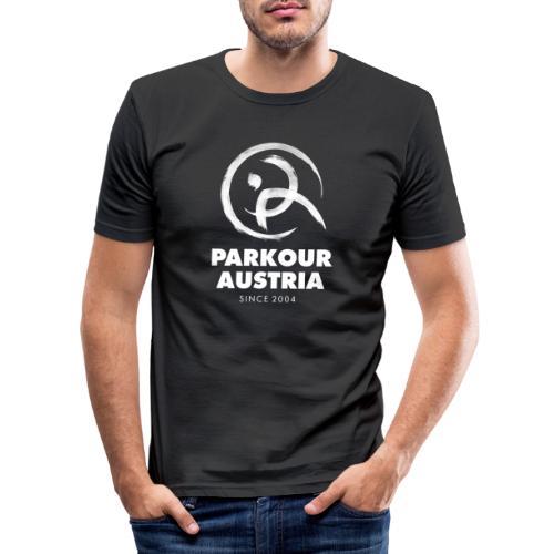 Parkour Austria (Logo & Schriftzug weiss) - Männer Slim Fit T-Shirt
