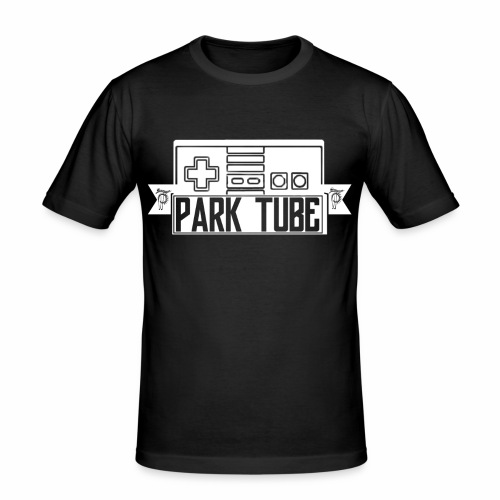 ParkTube Gaming Logo weiss - Männer Slim Fit T-Shirt