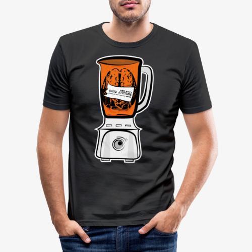 Hirn in Mixer neon orange - Männer Slim Fit T-Shirt