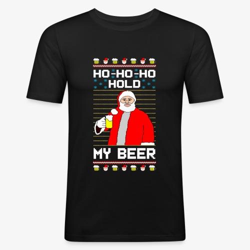 Holdy My Beer Santa Ugly Christmas - Männer Slim Fit T-Shirt