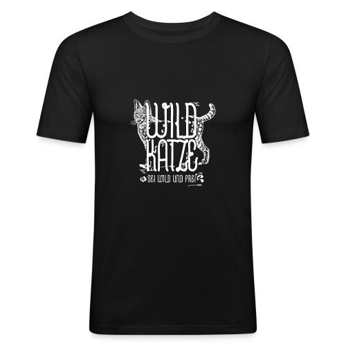 Wildkatze Weiss Geschenkidee - Männer Slim Fit T-Shirt