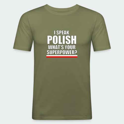 Damska Koszulka Premium I SPEAK POLISH - Obcisła koszulka męska