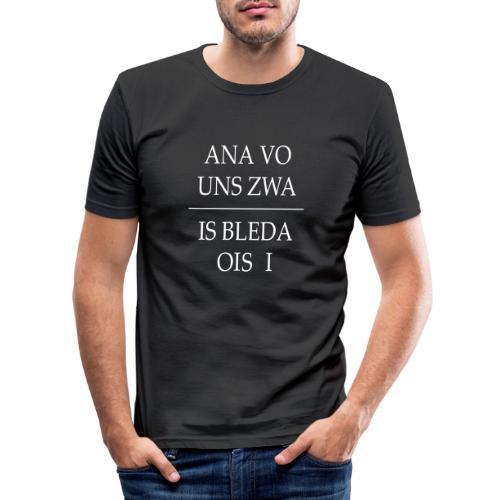 Vorschau: ana vo uns zwa is bleda ois i - Männer Slim Fit T-Shirt