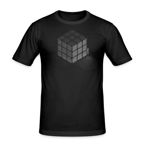 Rubik's Cube Stippling Dotted Cube - Men's Slim Fit T-Shirt