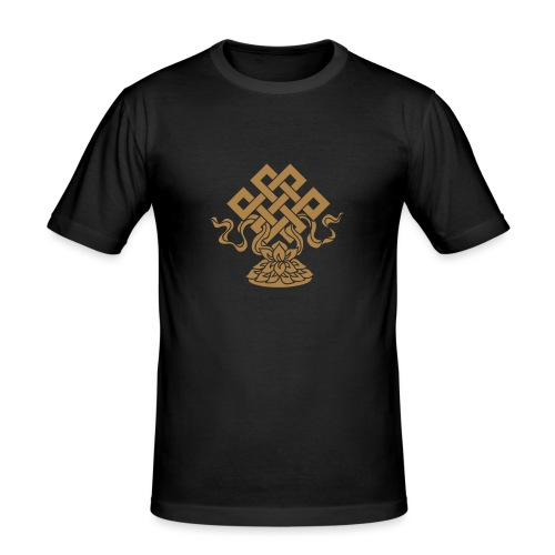 Endlosknoten, Buddhistisches Glückssymbol, Lotus - Männer Slim Fit T-Shirt