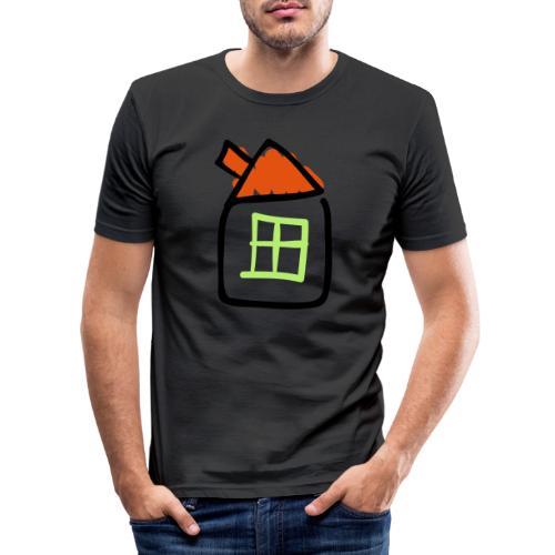 House Line Drawing Pixellamb - Männer Slim Fit T-Shirt