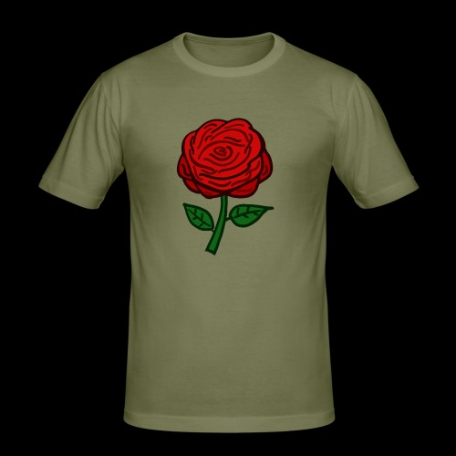 Rote Rose - Männer Slim Fit T-Shirt