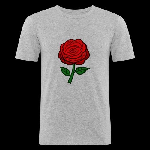 Rote Rose - Männer Slim Fit T-Shirt