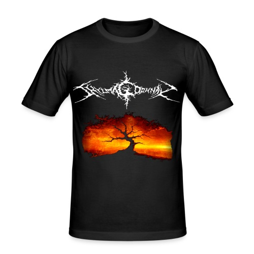 Silhouette of tree with logo white png - Men's Slim Fit T-Shirt