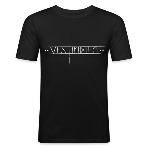 vestindienskriftnyhvit - Slim Fit T-skjorte for menn