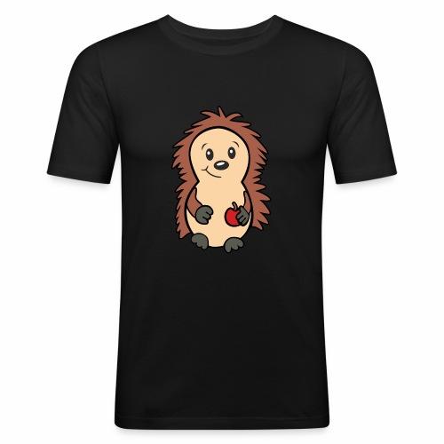 Igel mit Apfel in der Hand - Männer Slim Fit T-Shirt