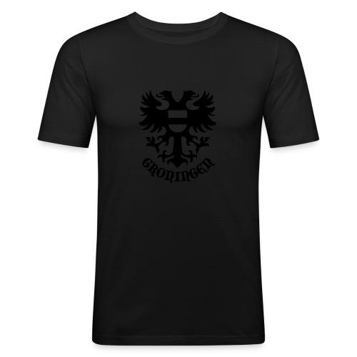 stadswapen groningen met tekst - Mannen slim fit T-shirt