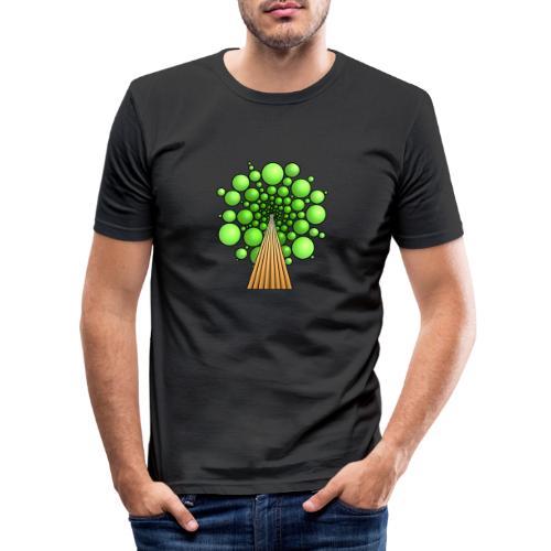 Kugel-Baum, 3d, hellgrün - Männer Slim Fit T-Shirt