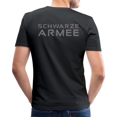 Grey Negant logo + SCHWARZE ARMEE! - Herre Slim Fit T-Shirt