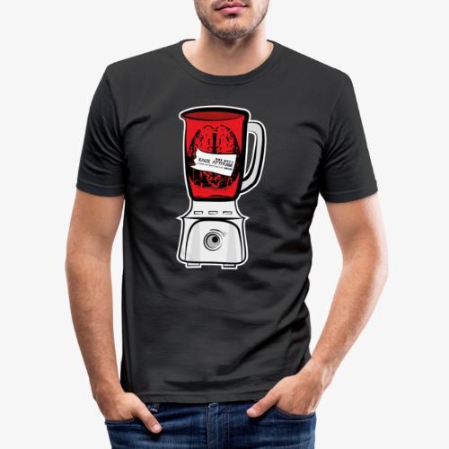 Hirn im Mixer - neon rot - Männer Slim Fit T-Shirt