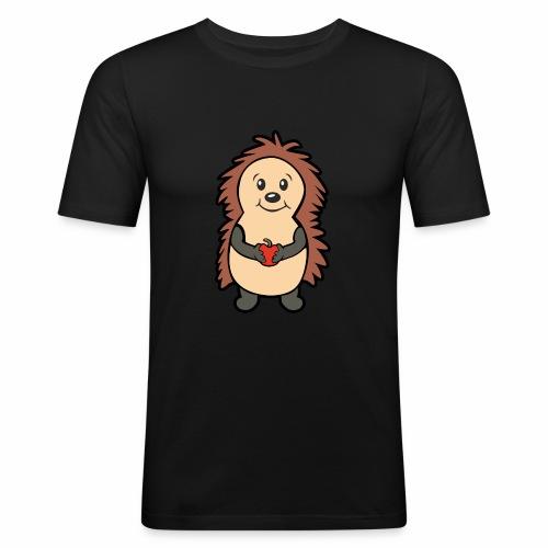 Igel mit Apfel in den Händen - Männer Slim Fit T-Shirt