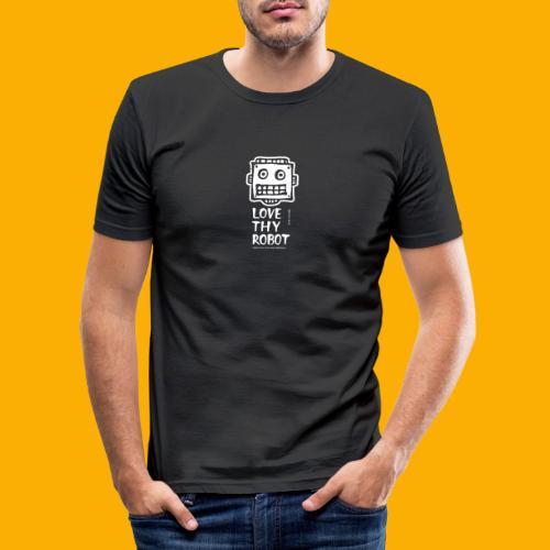 Dat Robot: Support this cute face - Mannen slim fit T-shirt