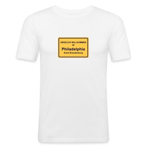 Ortsschild Philadelphia - Männer Slim Fit T-Shirt
