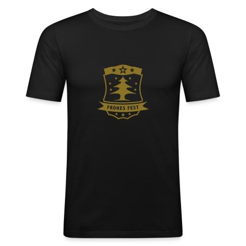 Frohes Fest Wappen - Männer Slim Fit T-Shirt