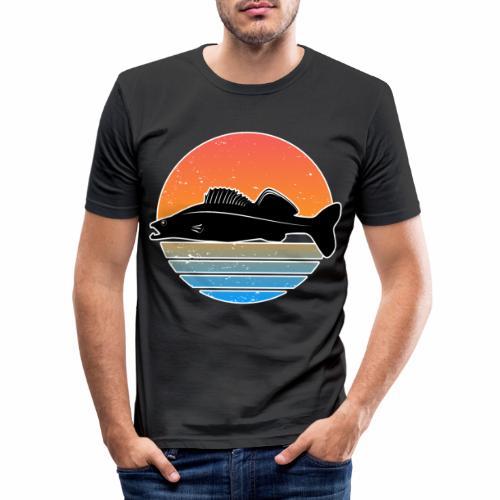 Retro Zander Angeln Fisch Wurm Raubfisch Shirt - Männer Slim Fit T-Shirt