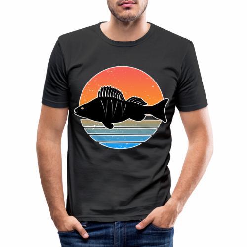 Retro Barsch Angeln Fisch Wurm Raubfisch Shirt - Männer Slim Fit T-Shirt
