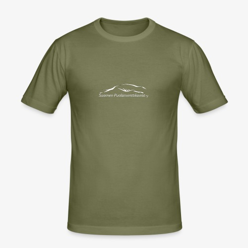 SUP logo valkea - Miesten tyköistuva t-paita