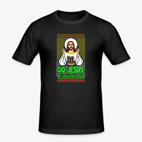 Go Jesus its your Birthday Ugly Christmas Sweater - Männer Slim Fit T-Shirt
