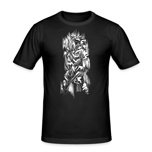 Samurai / White - Abstract Tatoo - Men's Slim Fit T-Shirt