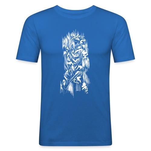 Samurai / White - Abstract Tatoo - Men's Slim Fit T-Shirt